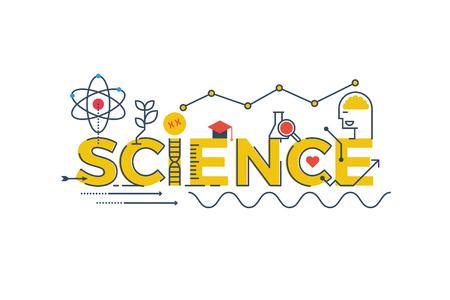 Ilustración de la palabra ciencia en STEM - la ciencia, la tecnología, la ingeniería, la educación matemática concepto de diseño con elementos de la tipografía icono ornamento