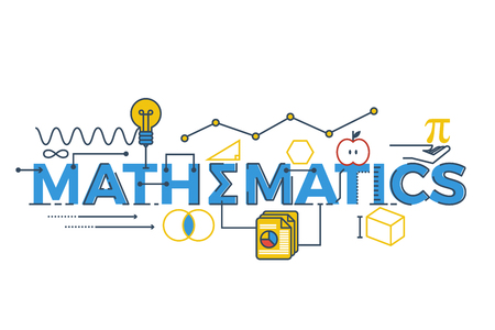 stems: Illustration of MATHEMATICS word in STEM - science, technology, engineering, mathematics education concept typography design with icon ornament elements Illustration