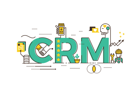 relationship management: CRM : Customer relationship management word lettering typography design illustration with line icons and ornaments in green theme