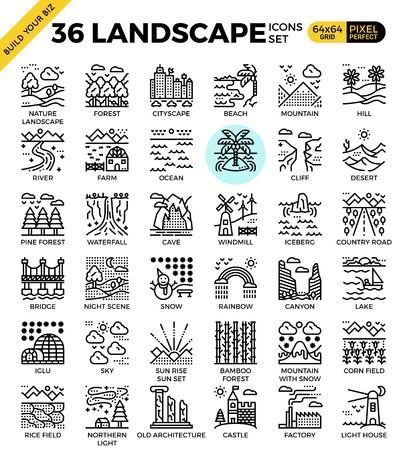 Nature landscape pixel perfect outline icons modern style for website or print illustration Vectores