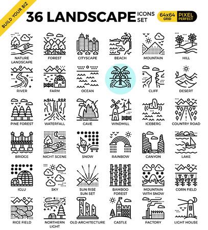 Nature landscape pixel perfect outline icons modern style for website or print illustration Illustration
