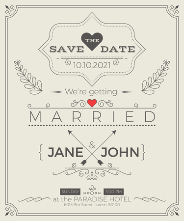 invitation wedding: Vintage wedding invitation card template with clean & simple layout illustration