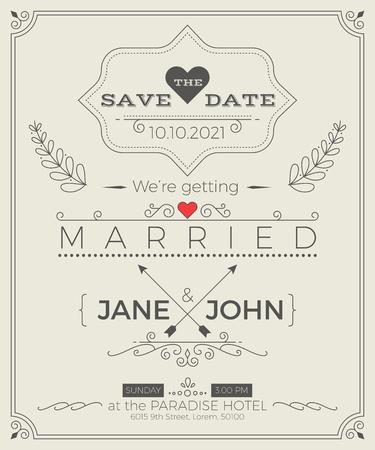 Vintage mariage modèle de carte d'invitation avec propre et mise en page simple illustration