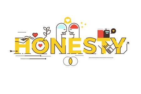 pledge: Honesty word lettering typography design illustration with line icons and ornaments in yellow theme Illustration