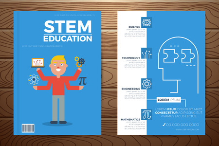Stem education book cover and flyer a4 template layout with flat design elements, for company annual report Ilustração