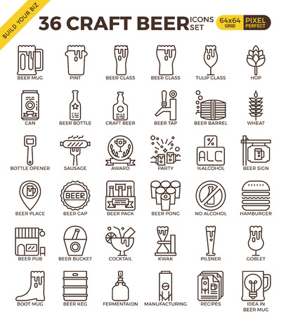 beer tulip: Craft Beer pixel perfect outline icons modern style for website or print illustration