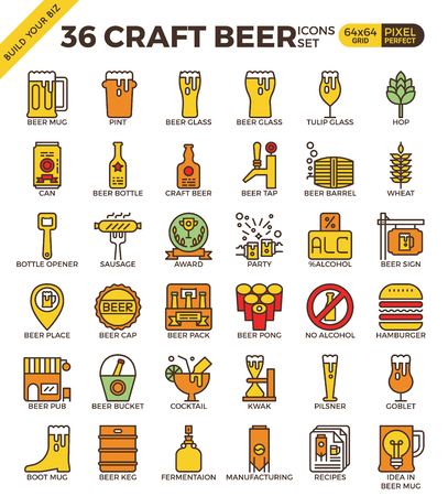 pixel perfect: Craft Beer pixel perfect outline icons modern style for website or print illustration