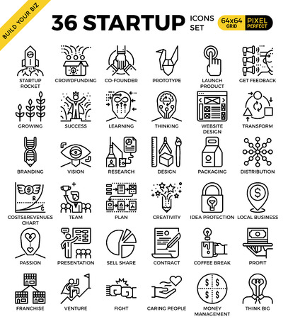 Startup business pixel perfect outline icons modern style for website or print illustration