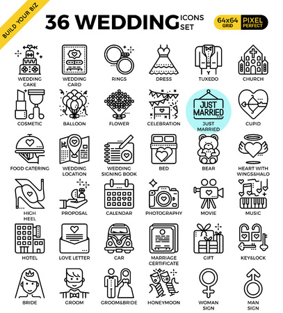 pixel perfect: Wedding & Love pixel perfect outline icons modern style for website or print illustration Illustration