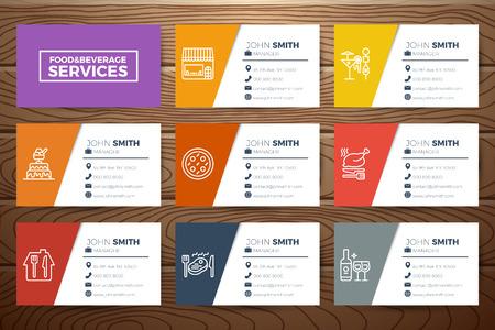 Voedsel & dranken restaurant visitekaartjes sjabloon ontwerp met lijn iconen op realistische houten achtergrond