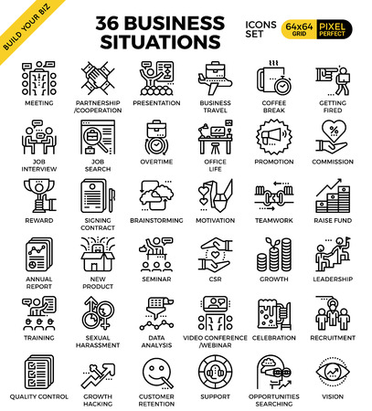 Business situations pixel perfect outline icons modern style for website or print illustration  イラスト・ベクター素材