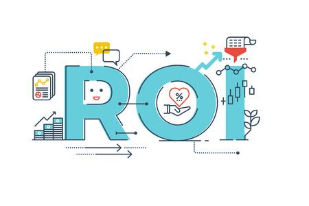 ROI: Return on parola investimento lettering tipografia design illustrazione con icone di linea e ornamenti in tema blu