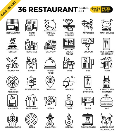 reviews: Restaurant food business pixel perfect outline icons modern style for website or print illustration Illustration