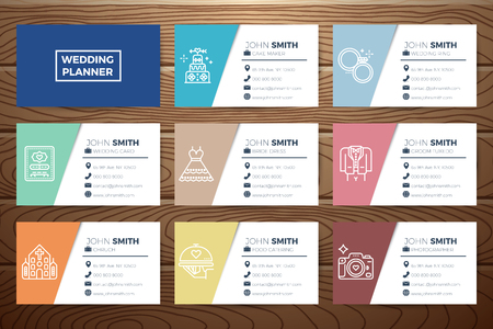 planner: Wedding planner business card template design with line icons on realistic wooden background Illustration