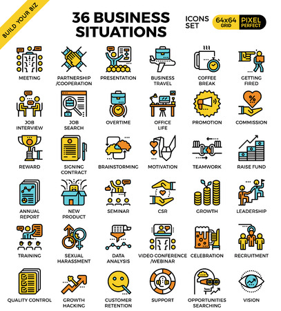 Business situations pixel perfect outline icons modern style for website or print illustration Vectores