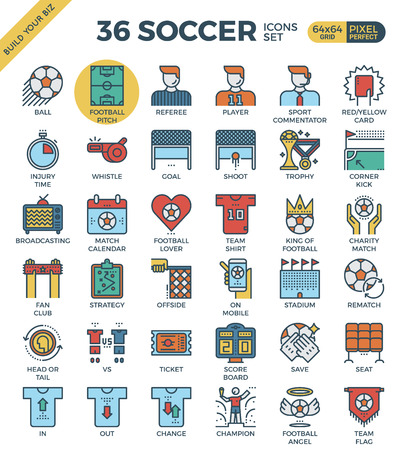 football pitch: Football  Soccer outline icons modern style for website or print illustration
