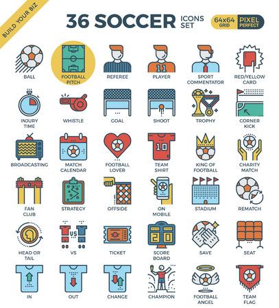 corner kick: Football  Soccer outline icons modern style for website or print illustration