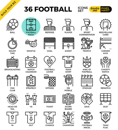 commentator: Football  Soccer outline icons modern style for website or print illustration