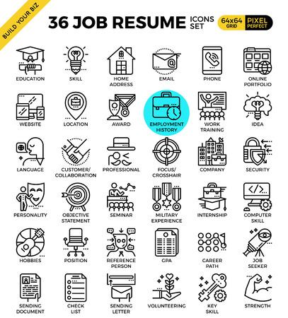 Job Resume outline icons modern style for website or print illustration Vectores