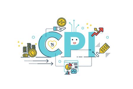 CPI: Consumenten Prijs Index woord belettering typografieontwerp illustratie met lijn pictogrammen en ornamenten in blauw thema
