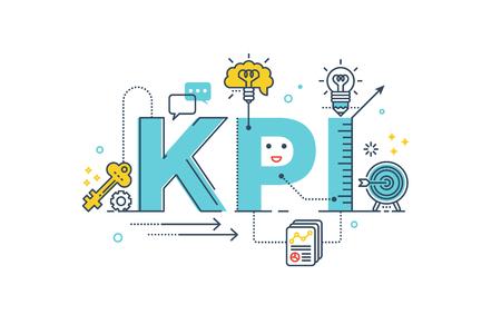 KPI: Key illustration design lettrage typographie mot indicateur de performance avec des icônes de ligne et d'ornements dans le thème bleu