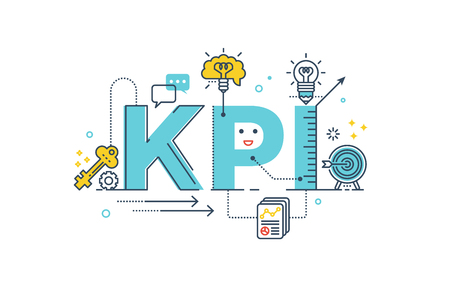 KPI : Key Performance Indicator word lettering typography design illustration with line icons and ornaments in blue theme