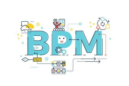 BPM : Business Process Management word lettering typography design illustration with line icons and ornaments in blue theme Vectores