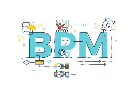 BPM: gestion des processus métier lettrage de mots typographie illustration de conception avec icônes de ligne et ornements en thème bleu Vecteurs