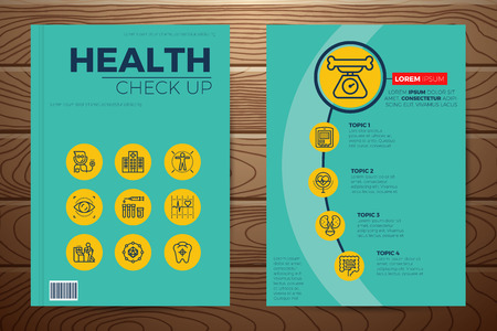 medical check: Medical and health check up book cover and flyer a4 template layout with flat design icon elements, for company annual report on realistic wooden background Illustration