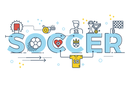 sports winner: Soccer word lettering typography design illustration with line icons and ornaments for banner