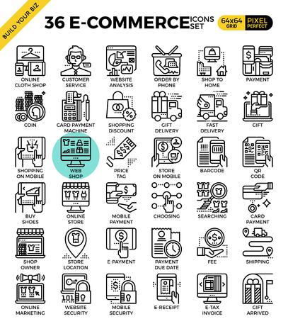 business outline: E-commerce business outline icons modern style for website or print illustration Illustration
