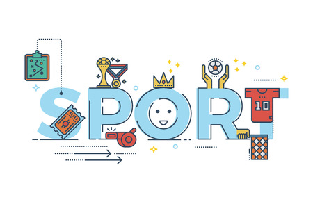 sports equipment: Sport word lettering typography design illustration with line icons and ornaments for banner