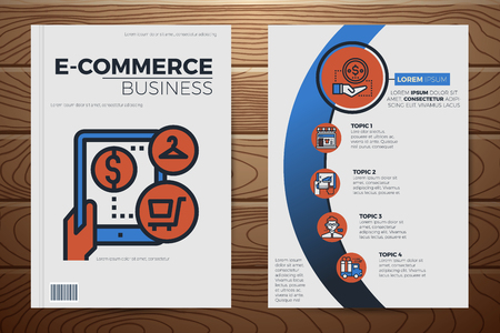 E-commerce business book cover and flyer a4 template layout with flat design icon elements, for company annual report on realistic wooden background Illustration