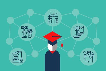 tige: la connaissance de l'éducation concept de réseau d'apprentissage illustration avec contour icônes