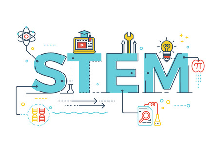 stems: Illustration of STEM - science, technology, engineering, mathematics education word typography design with icons ornament elements