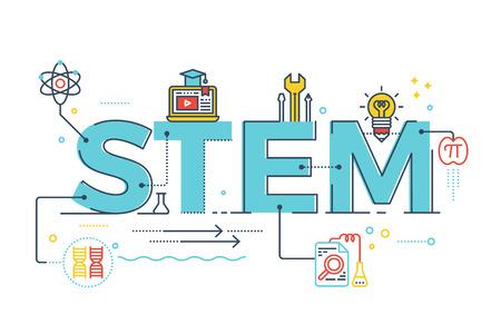 Ilustración de STEM - la ciencia, la tecnología, la ingeniería, la educación matemática diseño de la tipografía palabra con los iconos de los elementos de adorno