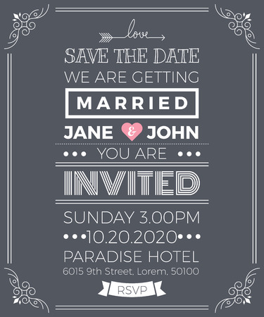 wedding invitation vintage: Vintage wedding invitation card template with clean & simple layout illustration