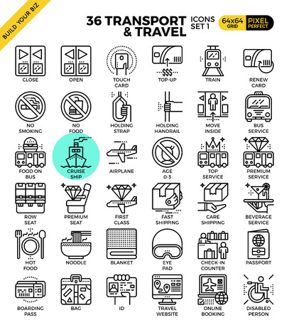not open: Transport logistic & Travel outline icons modern style for website or print illustration
