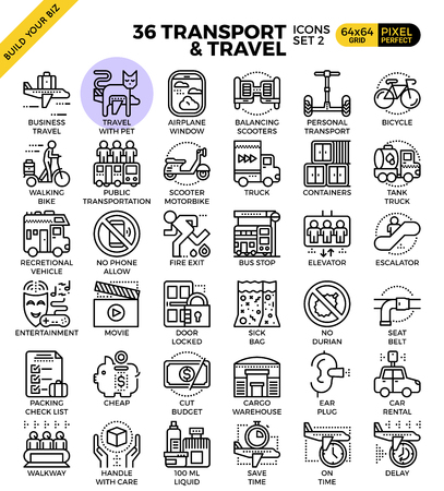 Transport logistic & Travel outline icons modern style for website or print illustration