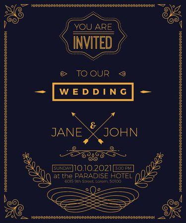 Plantilla de tarjeta de invitación de la boda de la vendimia con la ilustración de diseño limpio y sencillo