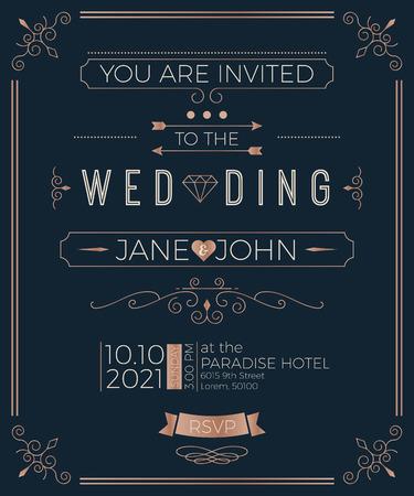 Vintage-Hochzeit Einladungskarte Vorlage mit sauberen und einfachen Layout Illustration