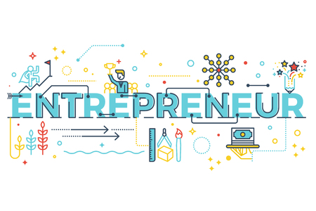 Entrepreneur word lettering typography design illustration with line icons and ornaments in blue theme