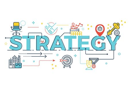 Strategy word lettering typography design illustration with line icons and ornaments in blue theme Illustration