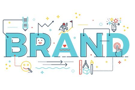 Brand woord belettering typografieontwerp illustratie met lijn pictogrammen en ornamenten in blauw thema