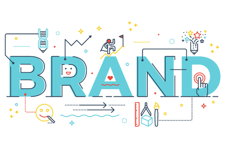 Brand word lettering typography design illustration with line icons and ornaments in blue theme