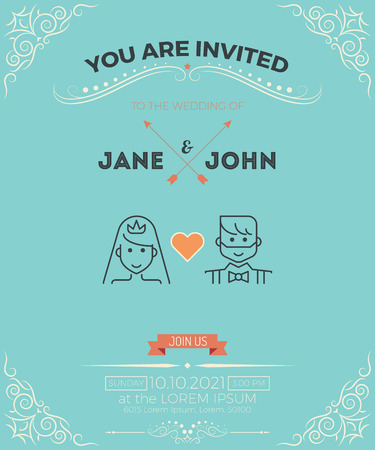 Vintage wedding invitation card template with clean & simple layout illustration