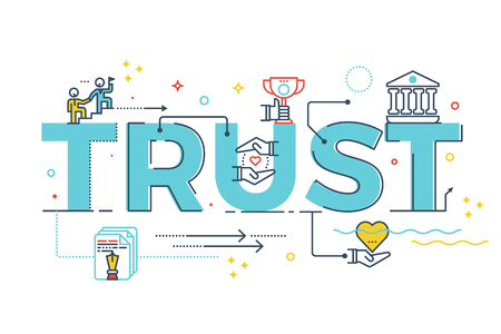 reliance: Trust word lettering typography design illustration with line icons and ornaments in blue theme