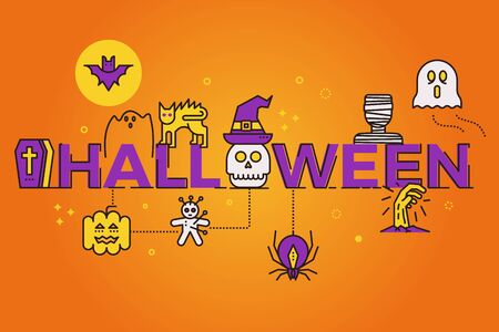 Halloween word banner poster design illustration with line icons and ornaments on orange background Illustration