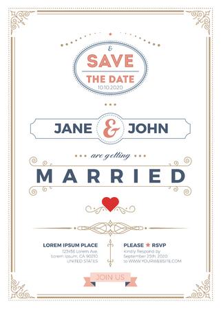 Weinlese-Hochzeitseinladungskarte A5-Vorlage mit Anschnitt, sauber und einfaches Layout Illustration Vektorgrafik