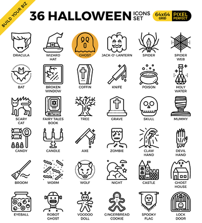 Spooky halloween outline icons modern style for website or print illustration Illustration